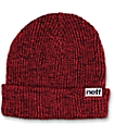 Neff Heather Red & Black Fold Beanie