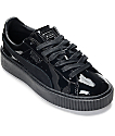 PUMA Basket Platform Patent Black Shoes (Womens)