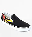 Vans Classic Slip-On Flame Black & White Skate Shoes