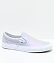 Vans Slip-On Muted Metallic Grey & White Skate Shoes