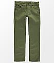 Volcom Boys Vorta Slub Military Green Straight Fit Jeans