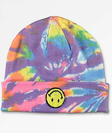 A-Lab Ever Smiley Face Tie Dye Beanie