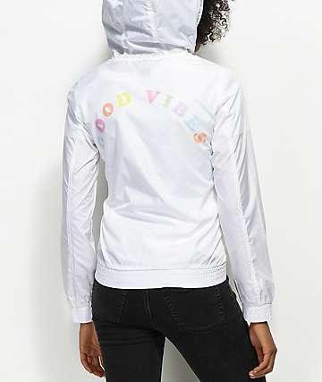 A-Lab Kenlie Good Vibes White Windbreaker Jacket