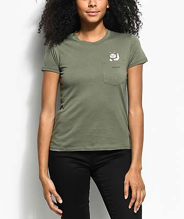 A-Lab Kito Meow Kitty Olive Pocket T-Shirt