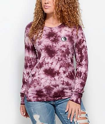 A-Lab Rubino Blackberry & Pink Tie Dye Long Sleeve T-Shirt