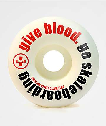 ATM Give Blood 53mm 99a White Skateboard Wheels