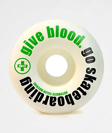 ATM Give Blood 54mm 99a White Skateboard Wheels