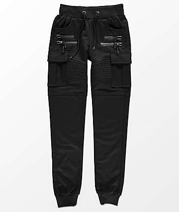 American Stitch Boys Black Cargo Terry Jogger Pants