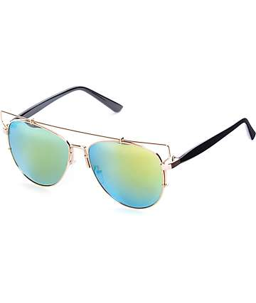 Beverly Brow Bar Aviator Sunglasses