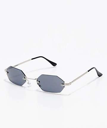 Black & Silver Mini Oval Sunglasses