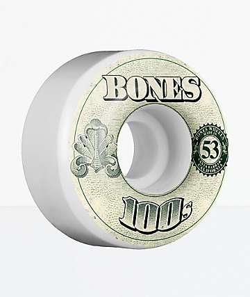 Bones 100s White 53mm Skateboard Wheels