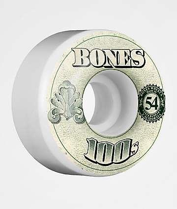 Bones 100s White 54mm Skateboard Wheels