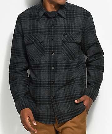 Brixton Bowery Black & Heather Charcoal Flannel Shirt