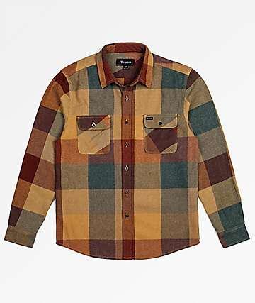 Brixton Bowery Rust & Copper Flannel Shirt