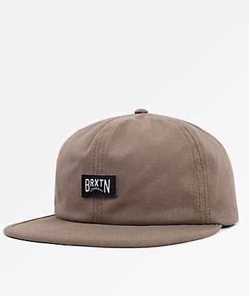 Brixton Langley Washed Mocha Strapback Hat