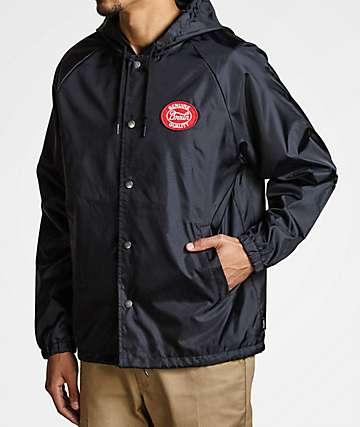 Brixton Merced Black Hooded Coaches Jacket