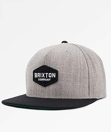 Brixton Obtuse Heather Grey & Black Snapback Hat