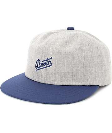 Brixton Reggie Grey & Navy Snapback Hat