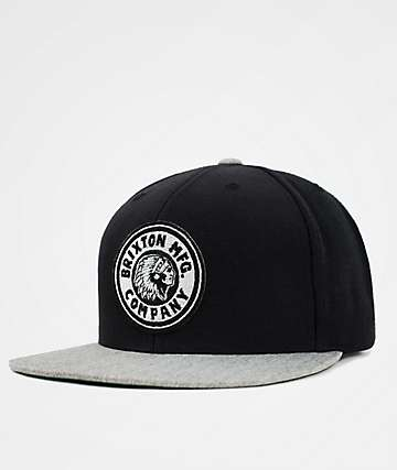 Brixton Rival Black & Heather Grey Snapback Hat