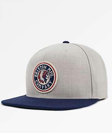 Brixton Rival Cream & Navy Snapback Hat