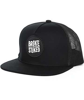 Broke & Stoked Black Trucker Hat