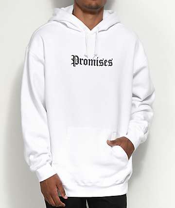 Broken Promises Slogan White Hoodie
