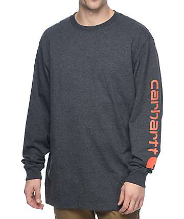 Carhartt Signature Logo Long Sleeve Charcoal T-Shirt