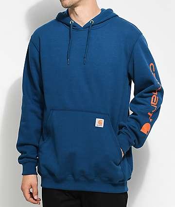 Carhartt Signature Navy & Orange Pullover Hoodie