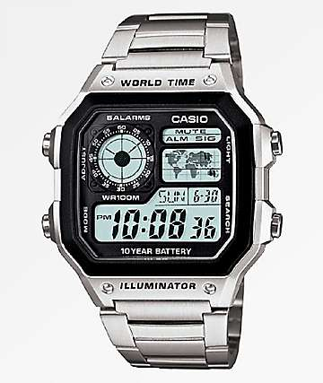 Casio AE1200 Vintage Silver Digital Watch