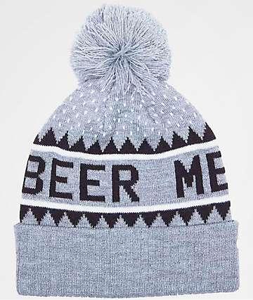 Celtek Beer Me Hockey Grey Pom Beanie