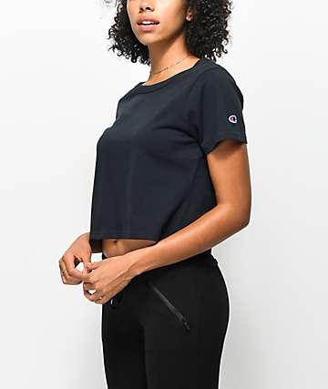 Champion Black Crop T-Shirt