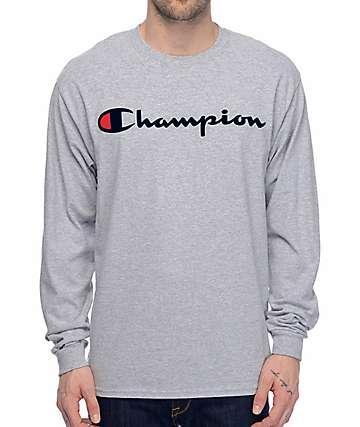 Champion Patriotic Script Long Sleeve Heather Grey T-Shirt