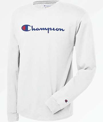Champion Patriotic Script Long Sleeve White T-Shirt