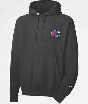 Champion Reverse Weave Big C Logo Black Hoodie