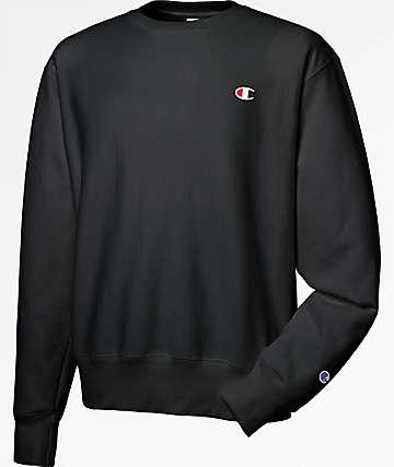 Champion Reverse Weave Small Logo Black Crew Neck Sweatshirt