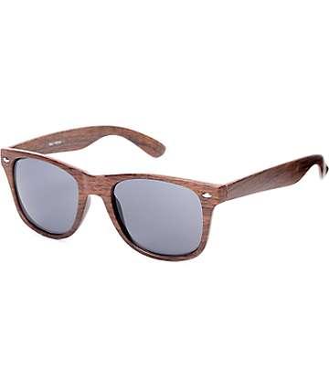 Classic Faux Wood & Smoke Lens Sunglasses