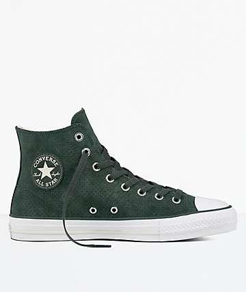 Converse CTAS Pro Hi Green, Egret & White Suede Shoes