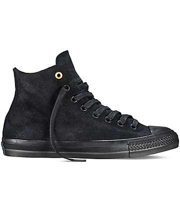 Converse CTAS Pro Hi Waxed Suede Black Shoes