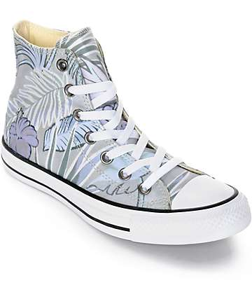 Converse Chuck Taylor All Star Grey Floral High Top Shoes