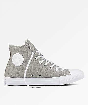 Converse Chuck Taylor All Star Hi Grey, White & White Shoes