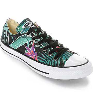 Converse Chuck Taylor All Star Ox Black Floral Print Shoes
