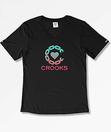 Crooks & Castles Crooked Heart Black V-Neck T-Shirt