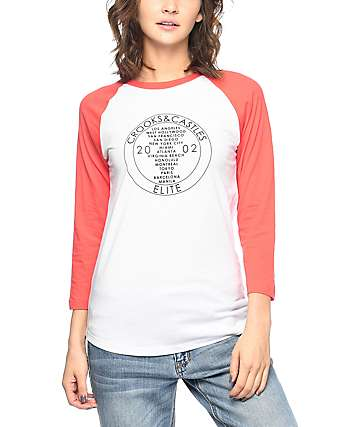 Crooks & Castles Palace Coral & White Baseball T-Shirt