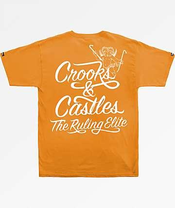 Crooks & Castles Ruler Script Orange T-Shirt