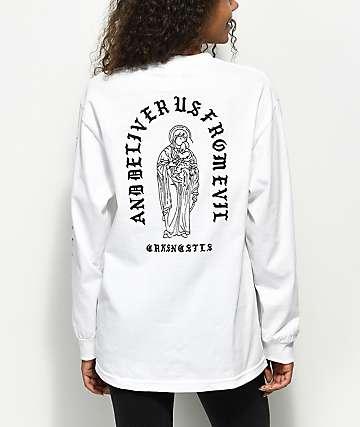 Crooks & Castles Deliver Us Long Sleeve White T-Shirt