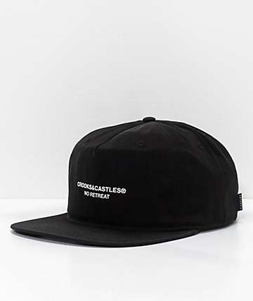 Crooks & Castles No Retreat Black Strapback Hat