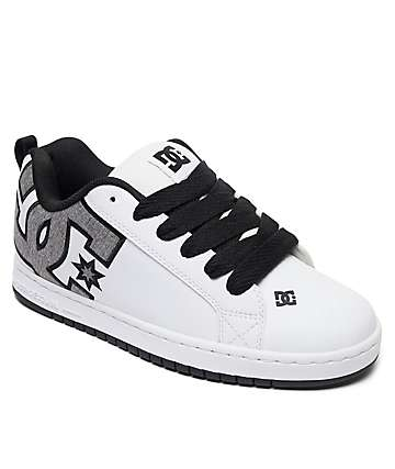 DC Court Graffik SE White & Heather Grey Skate Shoes