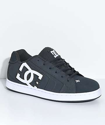 DC Net Grey & White Skate Shoes