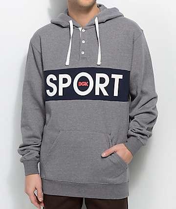 DGK Sport Grey Henley Hoodie