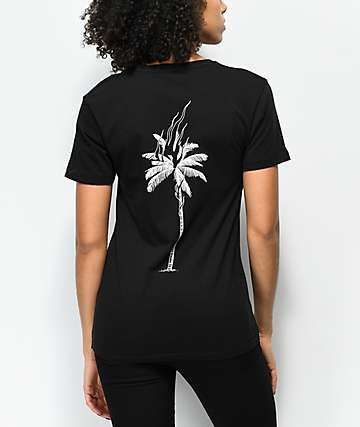 DROPOUT CLUB INTL. Kostechko Burning Palm Black T-Shirt